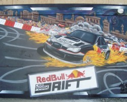 Graffiti Lebanon Studio68 Mural - Red Bull Car Park Drift 2011