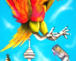 Graffiti Mannheim Leinwand Studio68 - Phönix über Mannheim